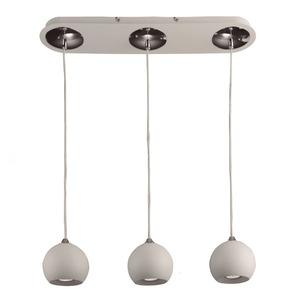 Pendente LLUM Ball Redondo Alumínio Branco 3 Lamp Bivolt