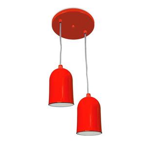 Pendente Spot Line 380/2 Redondo Alumínio Laranja 2 Lamp Bivolt