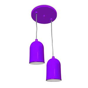 Pendente Spot Line 380/2 Redondo Alumínio Roxo 2 Lamp Bivolt