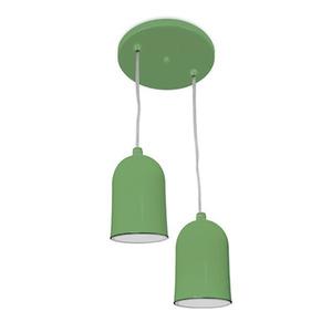Pendente Spot Line 380/2 Redondo Alumínio Verde 2 Lamp Bivolt