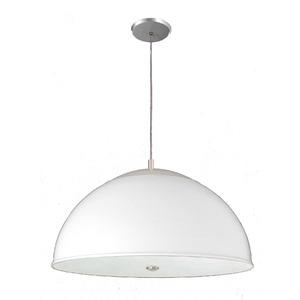Pendente Pantoja&Carmona 3071 Redondo Alumínio/Vidro Branco 3 Lamp Bivolt