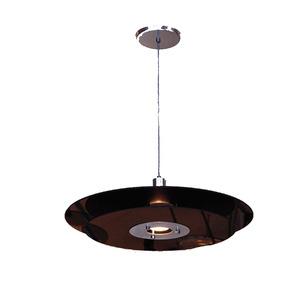 Pendente Pantoja&Carmona Spacial Redondo Alumínio/Vidro Preto 1 Lamp Bivolt
