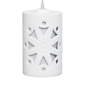 Pendente Alfa Luz 221 Redondo Cerâmica Branco 1 Lamp Bivolt