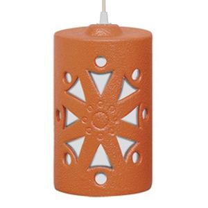 Pendente Alfa Luz 223 Redondo Cerâmica Terracota 1 Lamp Bivolt