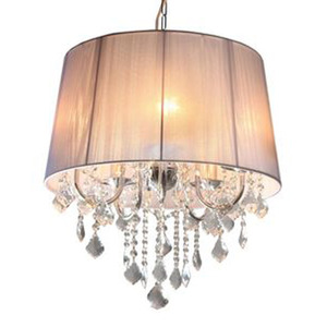 Pendente Taschibra Abrico Redondo Cristal/PVC/Tecido Branco 5 Lamp Bivolt