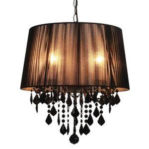 Pendente Taschibra Abrico Redondo Cristal/PVC/Tecido Preto 5 Lamp Bivolt