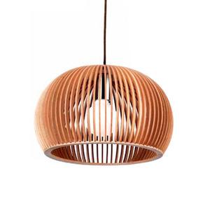 Pendente Damafe Wood Nature Redondo Madeira Madeira Crua 1 Lamp Bivolt