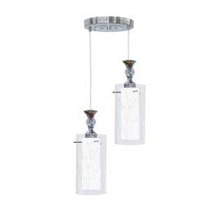 Pendente Taschibra TD292 Redondo Alumínio/Vidro Branco/Transparente 2 Lamp Bivolt
