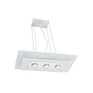 Pendente Pantoja&Carmona Spacial Retangular Alumínio/Vidro Branco 3 Lamp Bivolt