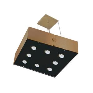 Pendente Pantoja&Carmona 3093 Retangular Alumínio/Vidro Dourado 8 Lamp Bivolt