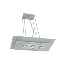 Pendente Pantoja&Carmona Spacial Retangular Alumínio/Vidro Espelhado 3 Lamp Bivolt