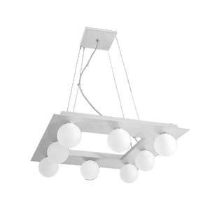 Pendente Pantoja&Carmona 3014 Retangular Alumínio/Vidro Prata 8 Lamp Bivolt