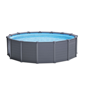 Piscina armar redonda graphite 16805l com escada capa for Alberca intex redonda