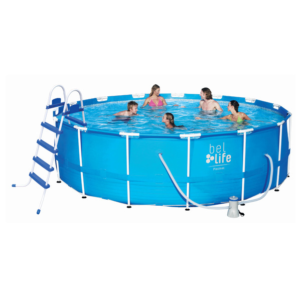 Piscina armar redonda 16000l com capa forro escada e for Limpiafondos piscina leroy merlin