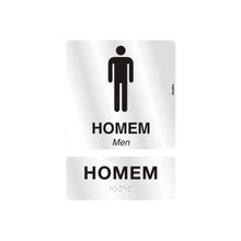 """Placa de Sinalização Alumínio  """"Homem/Men"""" 21x30mm 800AC Sinalize"""