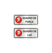 Placa de sinalização em Alumínio Sem braille 15x15 Quadro de Força/ Quadro de Luz
