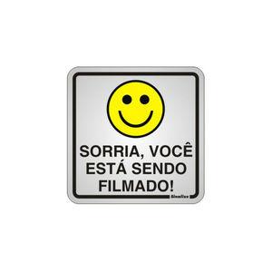 Placa de sinalização em Alumínio Sem braille 15x15 Sorria você está sendo filmado