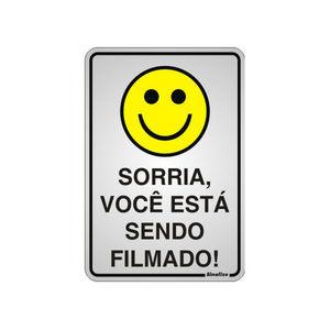 Placa de sinalização em Alumínio Sem braille 16x23 Sorria você está sendo filmado