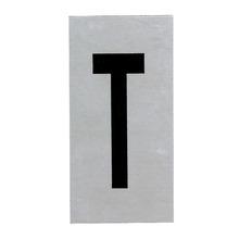 Placa de sinalização em Alumínio Sem braille 2,5x5 Letra T