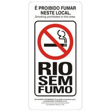 Placa de sinalização em Poliestireno Sem braille 12x24 Proibido fumar