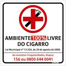 Placa de sinalização em Poliestireno Sem braille 20x20 Proibido fumar