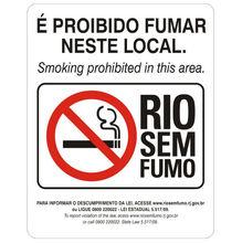 Placa de sinalização em Poliestireno Sem braille 20x25 Proibido fumar
