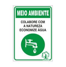 Placa de sinalização em Poliestireno Sem braille 20x30 Economize Energia