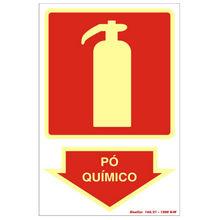 Placa de sinalização em Poliestireno Sem braille 20x30 Extintor Pó Químico