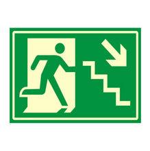 Placa de sinalização em Poliestireno Sem braille 20x30 Saída de emergência descer direita