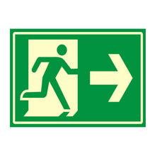 Placa de sinalização em Poliestireno Sem braille 20x30 Saída de emergência direita
