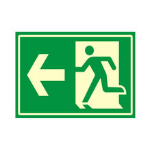 Placa de sinalização em Poliestireno Sem braille 20x30 Saída de emergência esquerda