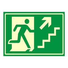 Placa de sinalização em Poliestireno Sem braille 20x30 Saída de emergência sobe direita