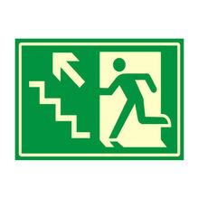 Placa de sinalização em Poliestireno Sem braille 20x30 Saída de emergência sobe esquerda
