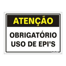 Placa de sinalização em Poliestireno Sem braille 23x20 Obrigatório uso de EPI's