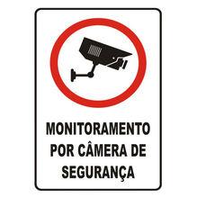 Placa de sinalização em Poliestireno Sem braille 30x20 Câmera de segurança