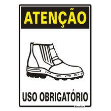 Placa de sinalização em Poliestireno Sem braille 30x20 Uso obrigatório de botas