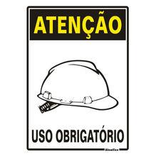Placa de sinalização em Poliestireno Sem braille 30x20 Uso obrigatório de capacete