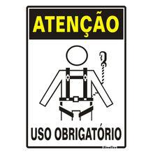 Placa de sinalização em Poliestireno Sem braille 30x20 Uso obrigatório de cintos