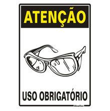 Placa de sinalização em Poliestireno Sem braille 30x20 Uso obrigatório de óculos