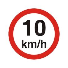 """Placa de Sinalização Plástico  """"Velocidade Máxima 10KM/h"""" 45x45mm 300AK Sinalize"""