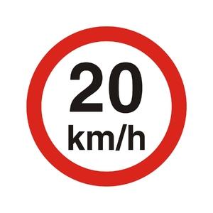 """Placa de Sinalização Plástico  """"Velocidade Máxima 20KM/h"""" 45x45mm 300AB Sinalize"""