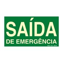 """Placa de Sinalização PVC  """"Saida de Emergência"""" 15x30mm 315AM Sinalize"""