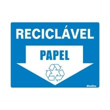 """Placa de Sinalização Vinil """"Lixo Reciclável Papel"""" 150x200mm 420AS Sinalize"""