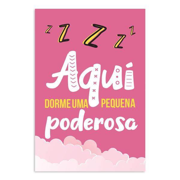 Placa Mdf Infantil Frase Menina Pequena Poderosa 30x40cm