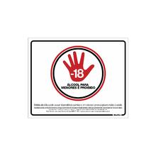 """Placa de Sinalização Poliestireno """"Proibido Álcool para Menores de 18 anos SP"""" 200x250mm  Sinalize"""