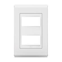 Placa sem Suporte 4x2 2 Módulos Refinatto Style Branco e Branco WEG