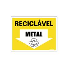 """Placa de Sinalização Vinil """"Lixo Reciclável Metal"""" 150x200mm 420AU Sinalize"""