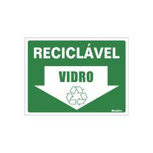 """Placa de Sinalização Vinil """"Lixo Reciclável Vidro"""" 150x200mm 420AT Sinalize"""