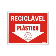"""Placa de Sinalização Vinil """"Lixo Reciclável Plástico"""" 150x200mm 420AQ Sinalize"""