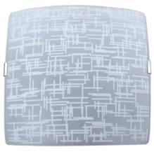 Plafon 2 Lâmp. E27 Quadrado 280x280x70cm Fosco c/ Silk Branco Inox Attena